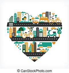 miasto, miłość, ikony, dużo, -, sercowa forma
