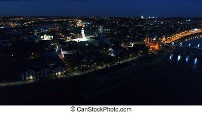 miasto, miasto, antena, noc, stary, prospekt