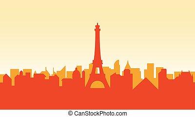 miasto, miasto, zabudowanie, sylwetka, kraj, podróż, francja, architektura