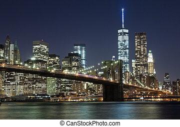 miasto, most, sylwetka na tle nieba, brooklyn, york, w, nowy
