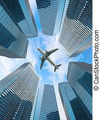 miasto, mucha, biały, samolot, nad, nowoczesny