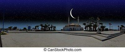 miasto, na, ramadan, jeddah, noc