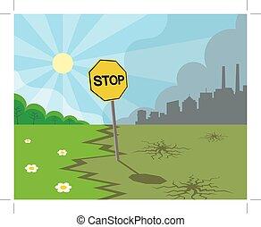 miasto, natura, zielony, zanieczyszczony