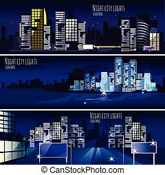 miasto, nightcape, 3, chorągwie, komplet
