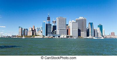 miasto nowego yorku, śródmieście, sylwetka na tle nieba