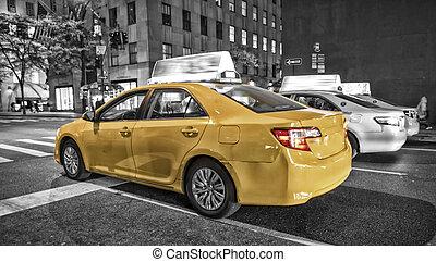 miasto nowego yorku, żółta taksówka, plama, ognisko, ruch