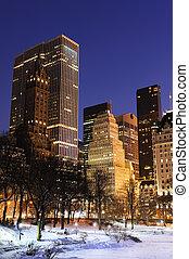 miasto nowego yorku, manhattan, środkowy park, panorama, w, zima