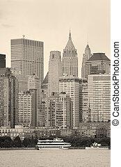 miasto nowego yorku, manhattan, czarnoskóry i biały