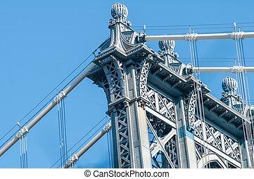 miasto nowego yorku, manhattan most, i, sylwetka na tle nieba