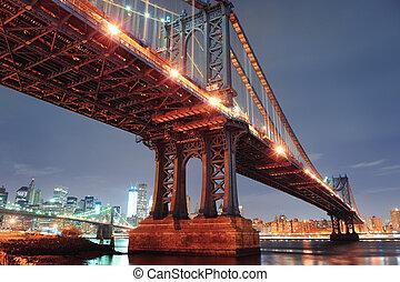 miasto nowego yorku, manhattan most