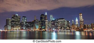 miasto nowego yorku, manhattan skyline, panorama