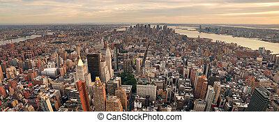 miasto nowego yorku, manhattan, zachód słońca, sylwetka na tle nieba, panorama