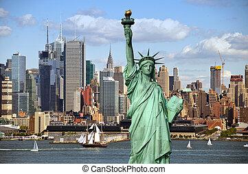 miasto nowego yorku, stary, wielki, nawigacja statek, w, hudson
