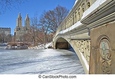 miasto nowego yorku, ukłońcie się most, w, zima