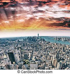 miasto nowego yorku, -, zabudowanie manhattana