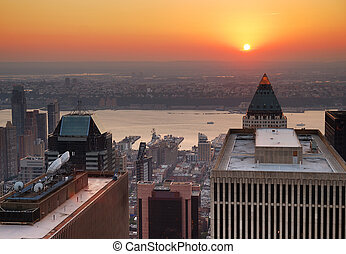 miasto nowego yorku, zachód słońca