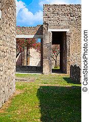miasto, nowoczesny, campania, okolica, italy., południowy, zrujnowany, rzymski, pompeii, pompeii., gruzy, neapol