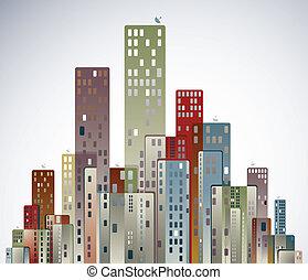 miasto, nowoczesny, panorama.
