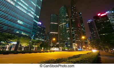 miasto, nowoczesny, timelapse, ruch, ulica, noc