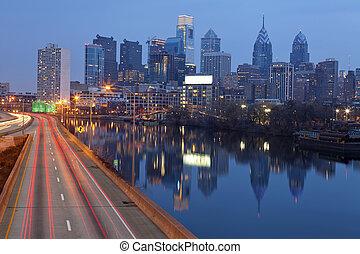 miasto, od, philadelphia.