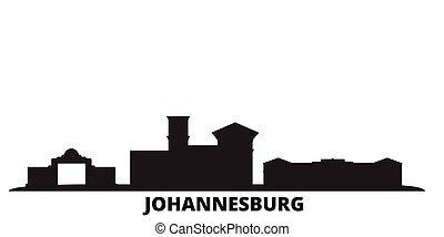 miasto, odizolowany, afryka, czarnoskóry, podróż, południe, johannesburg, sylwetka na tle nieba, illustration., cityscape, wektor