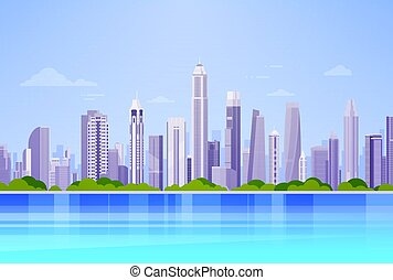 miasto, panorama, sylwetka na tle nieba, drapacz chmur, tło...