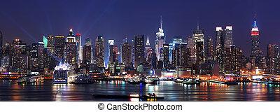 miasto, panorama, sylwetka na tle nieba, york, nowy,...