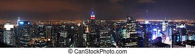 miasto, panorama, sylwetka na tle nieba, york, nowy, manhattan