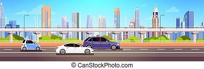 miasto, panorama, wozy, napędowy, droga, miejski, ulica