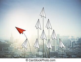 miasto, papier, bakcground, samoloty