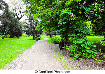 miasto park, spokojny