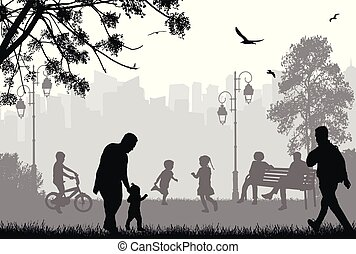 miasto park, sylwetka, ludzie