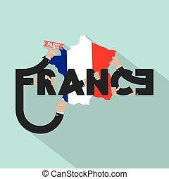 miasto, paryż, typografia, ilustracja, francja, wektor, projektować, kapitał