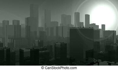 miasto, pełny, przez, dym, przelotny