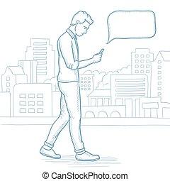 miasto, pieszy, smartphone, ulica., człowiek