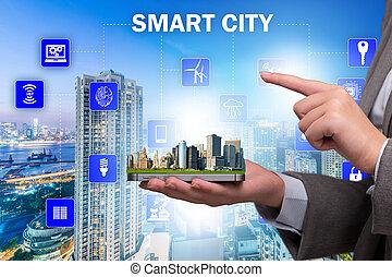 miasto, pojęcie, mądry, innowacja