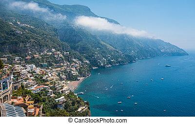 miasto, positano, campania, amalfi płyną, mały, włochy