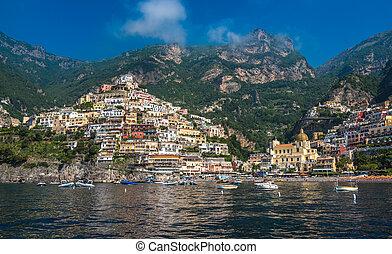 miasto, positano, campania, amalfi, panoramiczny, brzeg, mały, włochy, prospekt