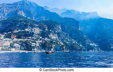 miasto, positano, włochy, tyrrhenian, amalfi płyną, morze