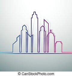 miasto, profile na tle nieba