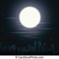 miasto, profile na tle nieba, z, księżyc