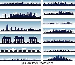 miasto, profile na tle nieba, zbiór