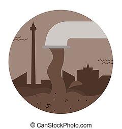 miasto, przemysłowy, zsyp polewają, rura, wektor, brudny, toksyczne marnotrawstwo, ściek, skażenie