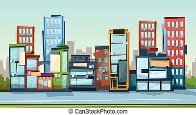 miasto, przestrzeń, cielna, nowoczesny, sylwetka na tle nieba, cityscape, kopia, chorągiew, prospekt