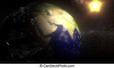 miasto, przestrzeń, słońce, (1156), światło księżyca, zawiązywanie, night-side, ziemia, ruch obrotowy, światła