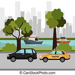 miasto, przewóz, design.