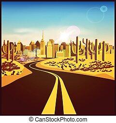 miasto, pustynia