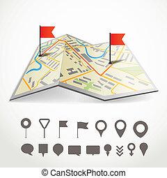 miasto, różny, mapa, abstrakcyjny, fałdowy, zbiór, szpilki,...