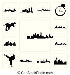 miasto, rex, komplet, ikony, wisconsin, kopnąć, , kansas, karate, sylwetka na tle nieba, tło, houston, t, missouri, nyc, biały, sylwetka na tle nieba, seattle