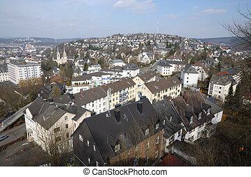 miasto, rhine-westphalia, północ, siegen, niemcy, prospekt